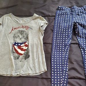girl 7/8 graphic top and leggings